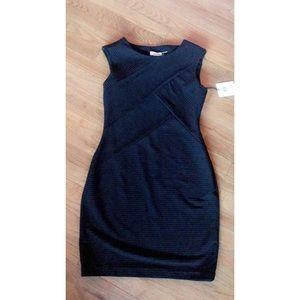Calvin Klein Black Form Fitted Dress New With Tags